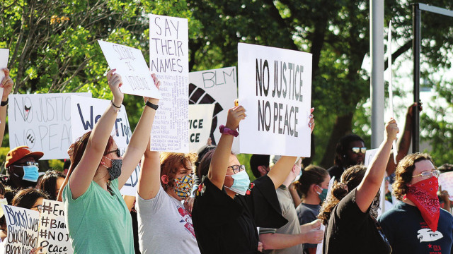 Peaceful protestors stand up for 'atrocities' in America